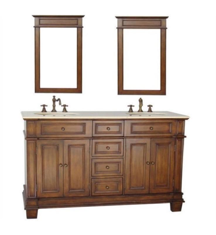 70 Sanford Double Sink Large Brown, 70 Bathroom Vanity
