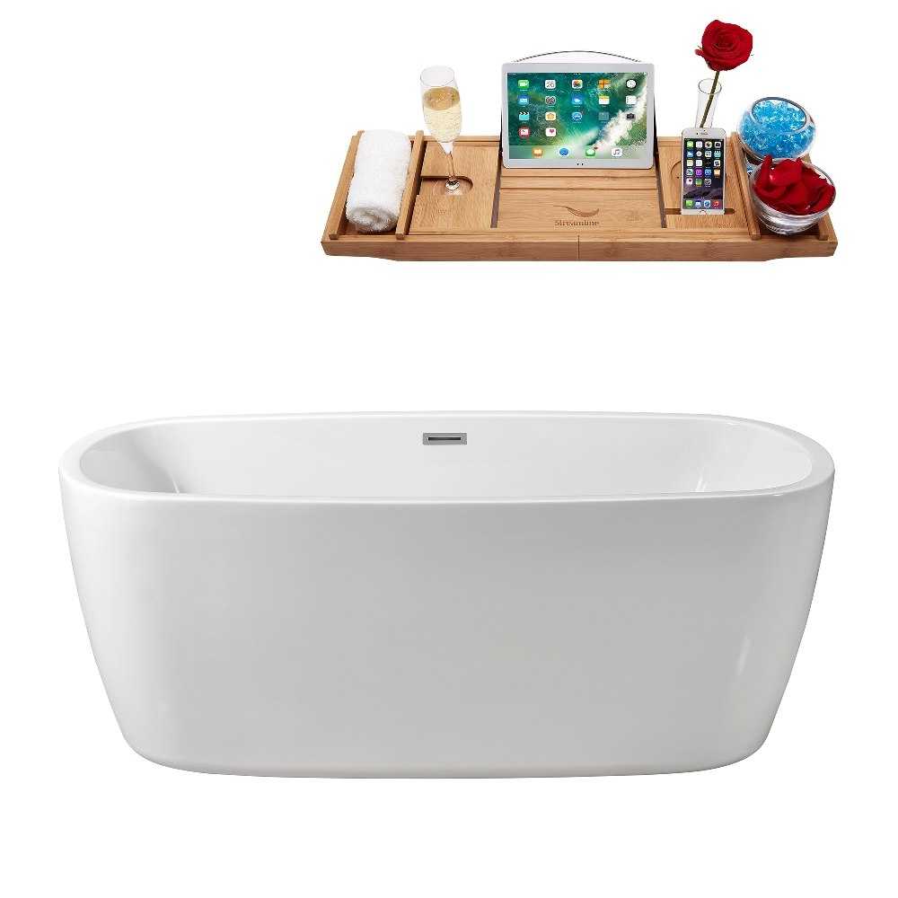 Streamline N 780 59FSWH FM 59 Inch Soaking Freestanding Tub With Internal Chr