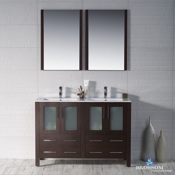 Blossom 001 48 03 D Sydney Inch Double Vanity Set With Mirrors In Wenge