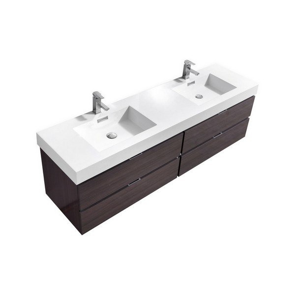 Kubebath BSLDHGGO Bliss Inch Double Sink High Gloss Gray Oak - 72 inch modern bathroom vanity