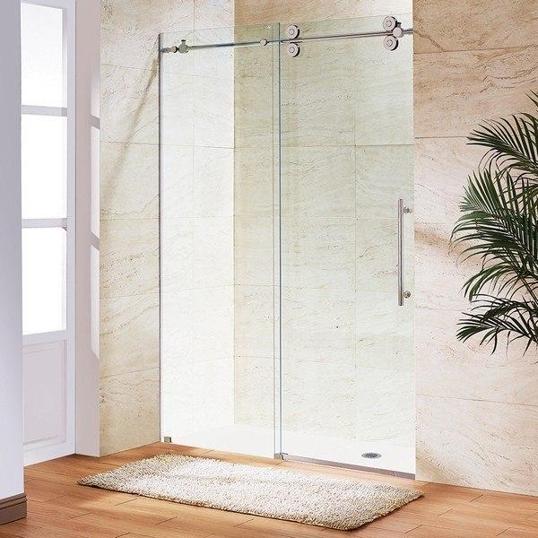 Vigo Vg6041chcl7274 Elan 72 Inch Frameless Clear Glass Shower Door