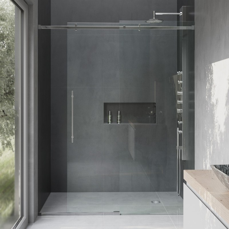 Vigo VG6043CHCL6074 Luca 60 Inch Frameless Shower Door with Clear ...