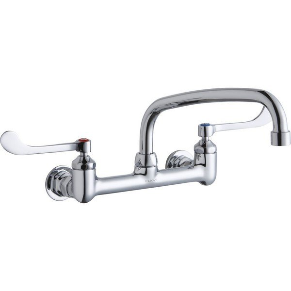 Elkay Lk940at10t6h Wall Mount Faucet With 10 Inch Arc Tube Spout And