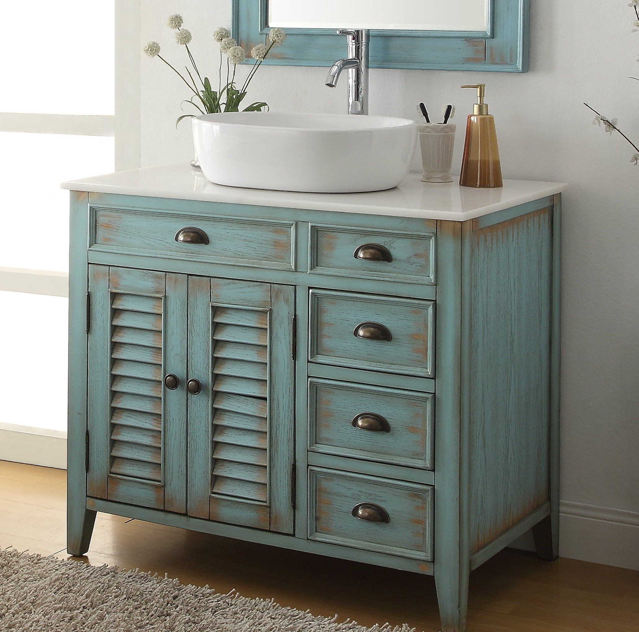 Chans Furniture Cf 78886bu 38 Inch Benton Collection Distress Blue Abbeville Vessel Sink Bathroom Vanity