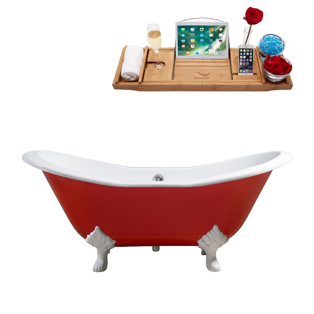 Streamline R5161WH-CH 61 Inch Cast Iron Soaking Clawfoot Tub with ...