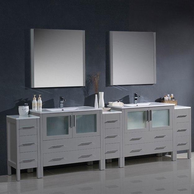 Fresca Fvn62 108gr Uns Torino 108 Inch Gray Modern Double Sink Bathroom Vanity W