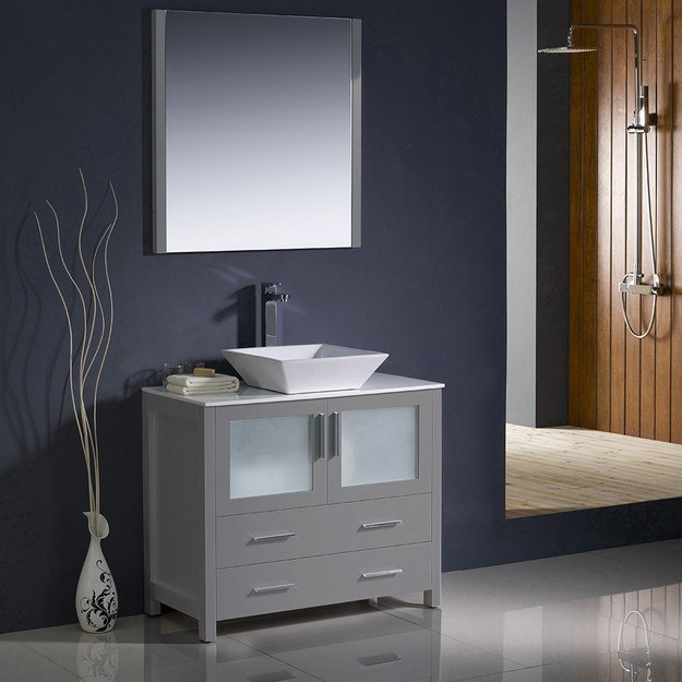 Fresca Fvn6236gr Vsl Torino 36 Inch Gray Modern Bathroom Vanity W Vessel Sink
