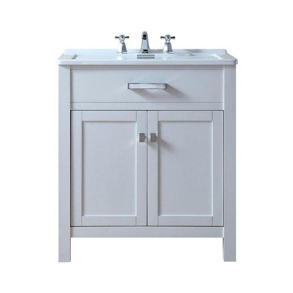 Stufurhome Gm Y02w Radiant 30 Inch White Single Laundry Sink Vanity Gmy02w