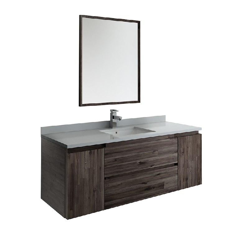 Fresca Fvn31 123012aca Formosa 54 Inch Wall Hung Modern Bathroom Vanity With Mirror In Acacia