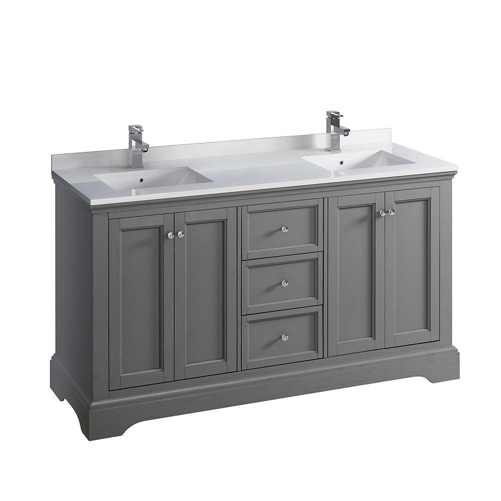 Fresca Fcb2460grv Cwh U Windsor 60 Inch Gray Textured Traditional Double Sink Bathroom Cabinet