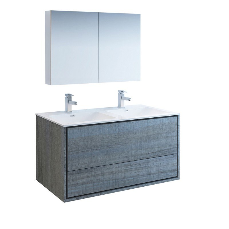 Cool Fresca Fvn9248Og D Catania 48 Inch Ocean Gray Wall Hung Double Sink Modern Bathroom Vanity With Medicine Cabinet Download Free Architecture Designs Ferenbritishbridgeorg
