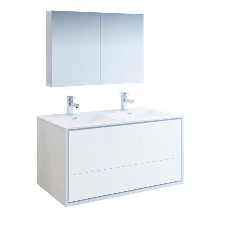 Outstanding Fresca Fvn9248Wh D Catania 48 Inch Glossy White Wall Hung Double Sink Modern Bathroom Vanity With Medicine Cabinet Download Free Architecture Designs Ferenbritishbridgeorg