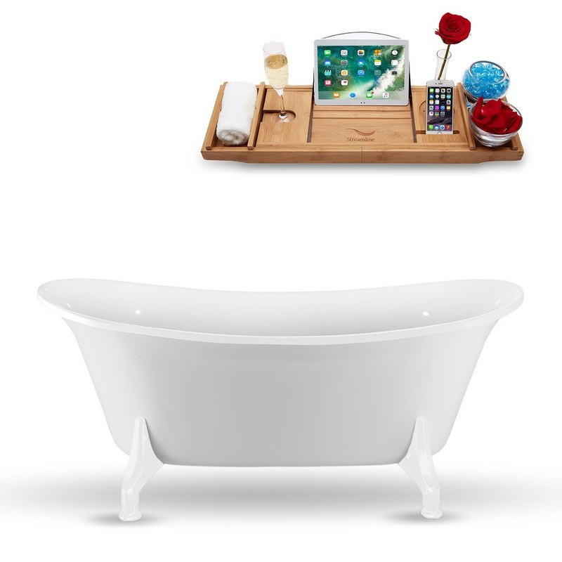 Streamline N1080wh 59 Inch Clawfoot Tub In Glossy White With