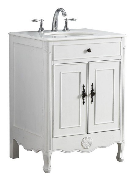 . MODETTI MOD081AW 26 PROVENCE 26 INCH SINGLE BATHROOM VANITY SET IN ANTIQUE  WHITE