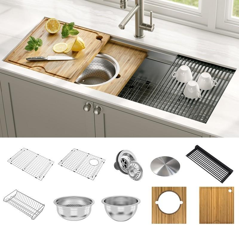 Kraus KWU120-45 Kore 2-Tier Workstation 45 Inch Undermount 16 Gauge Single  Bowl Stainless Steel Kitchen Sink with Accessories (Pack of 10)