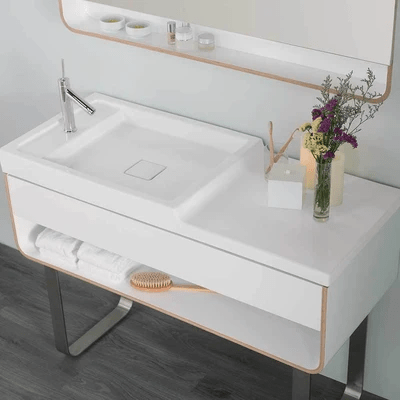 Ronbow 304449 1 Cw Wideappeal 48 X 22 Inch Marble Vanity Top In Carrara White 4 Inch Thick