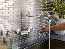 Mdura Double Handle Wall Mount Kitchen Faucet With Spout Fie Wall