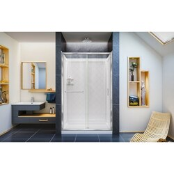 Infinity Z Shower Door 48 QWall Chrome Clear No Controller