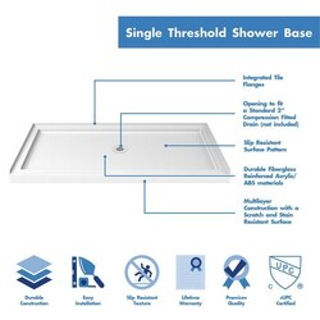 Single Threshold Shower Base Center Drain 60