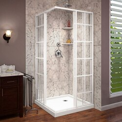 French Cornerview Shower Enclosure B arctic white open
