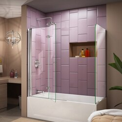 Aqua Fold Tub Door 25 RP Position 1-2 Chrome