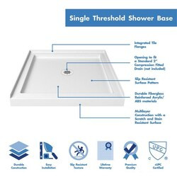 Single Threshold Square Shower Base Highlights