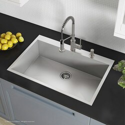 Kraus Kp1ts33s 2 Pax Zero Radius 33 Inch Drop In Single Bowl Stainless Steel Kitchen Sink With 2 Pre Drilled Holes