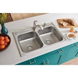 Moen 21579 Galvin Sink And Faucet Combination 33 Inch 20 Gauge Stainless Steel Double Bowl