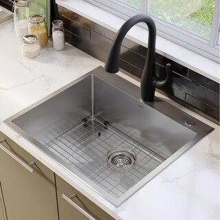 Kraus Kht301 25 Standart Pro 25 Inch Drop In Topmount Single Bowl 16 Gauge Stainless Steel Kitchen Sink Set