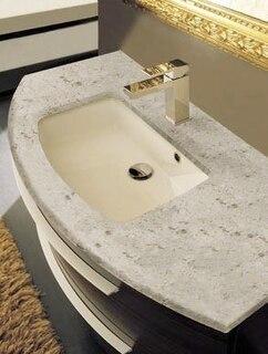 top marbleresin savana beige with sink curved