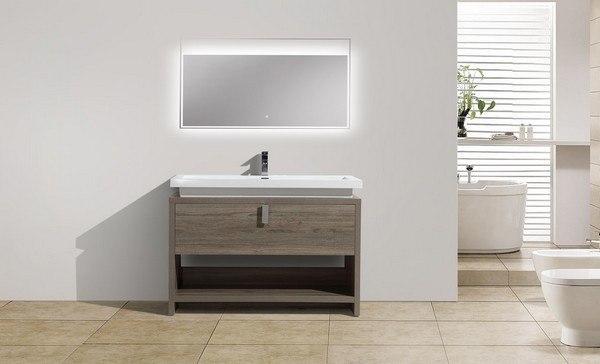 Kubebath LCO Levi Inch Havana Oak Modern Bathroom Vanity With - 48 inch modern bathroom vanity