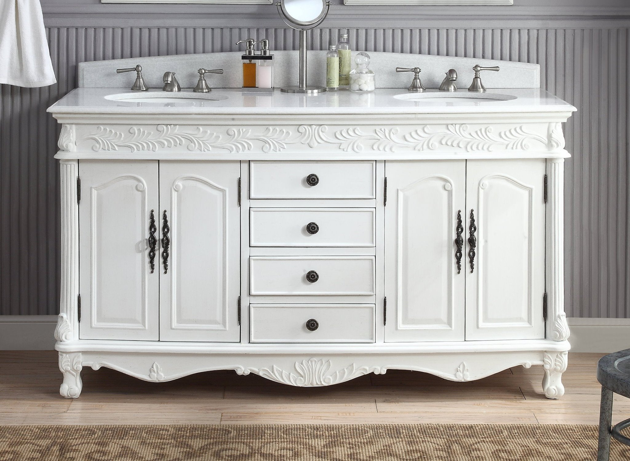 Chans Furniture Hf036xlw Aw Florence 63 Inch White Bathroom Double Sink Vanity Hf036xlw Aw