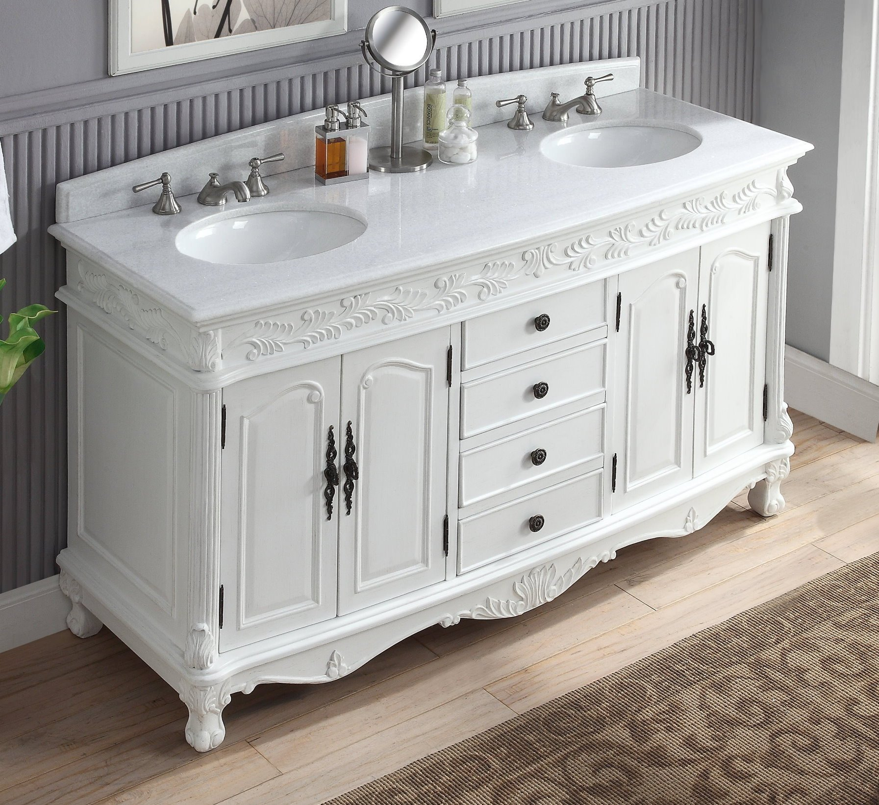 Chans Furniture Hf036xlw Aw Florence 63 Inch White Bathroom Double Sink Vanity Hf036xlw Aw