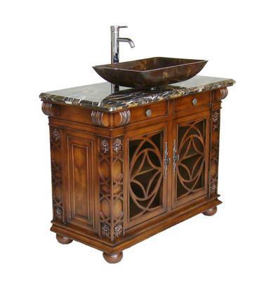 Chans furniture hf1217gf vigo 42 inch cherry wood bathroom vessel sink vanity for Cherry wood bathroom furniture