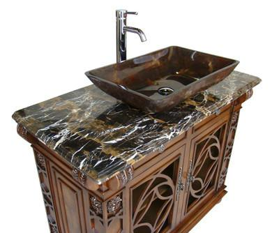 Chans furniture hf1217gf vigo 42 inch cherry wood bathroom - Bathroom vanity with vessel sink sale ...