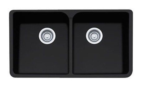 """Franke MHK720-35MB Matte Black Manor House 35"""" Apron Front Double Bowl Fireclay Sink"""