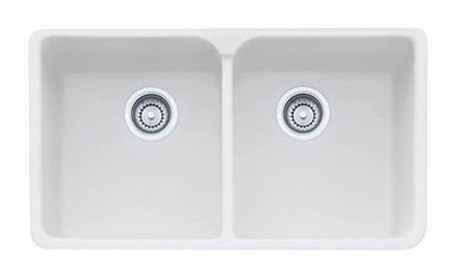 """Franke MHK720-35MW Matte White Manor House 35"""" Apron Front Double Bowl Fireclay Sink"""