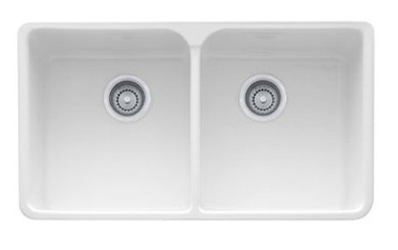 """Franke MHK720-35WH White Manor House 35"""" Apron Front Double Bowl Fireclay Sink"""