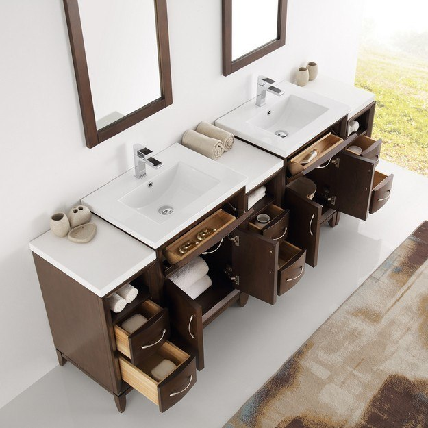 84 bathroom vanity double sink fresca fvn21 84ac cambridge 84 inch antique coffee 21884