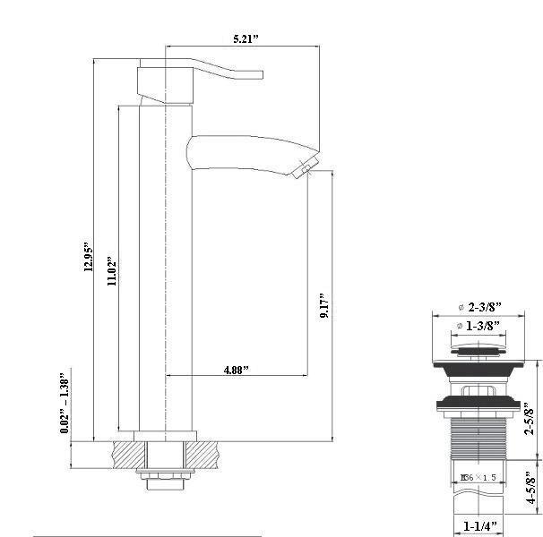 Lada Wave 5504 Deck Mount Vessel Sink Bathroom Faucet