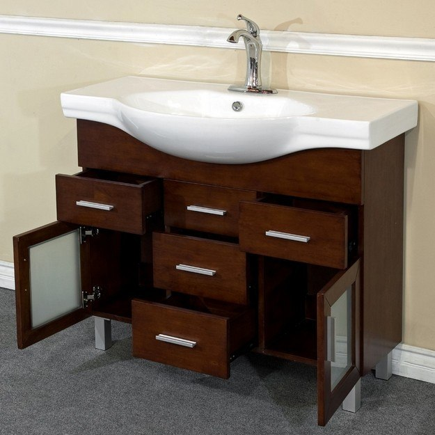 vanity with open drawers