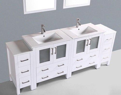 Bosconi aw230u2s 84 inch double vanity in white finish for 84 inch white bathroom vanity