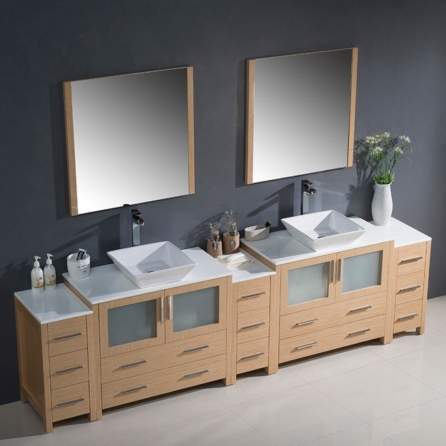 Fresca Fvn62 108lo Vsl Torino 108 Inch Light Oak Modern Double Sink Bathroom Vanity W 3 Side