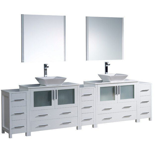 Fresca Fvn62 108wh Vsl Torino 108 Inch White Modern Double Sink Bathroom Vanity W 3 Side