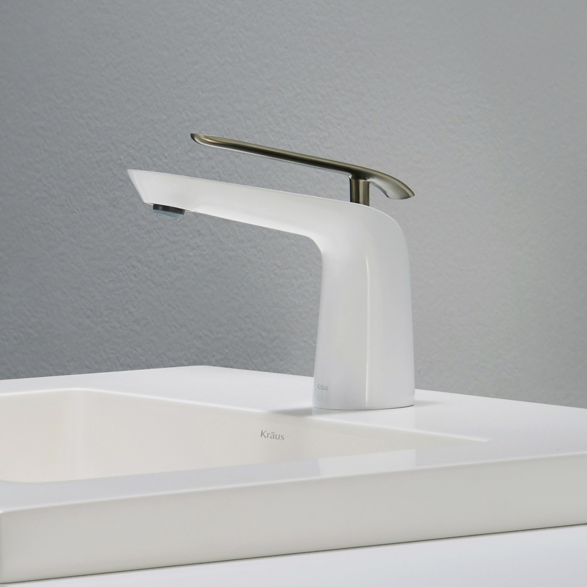 Seda Single Lever Basin Bathroom Faucet Brushed Nickel-White