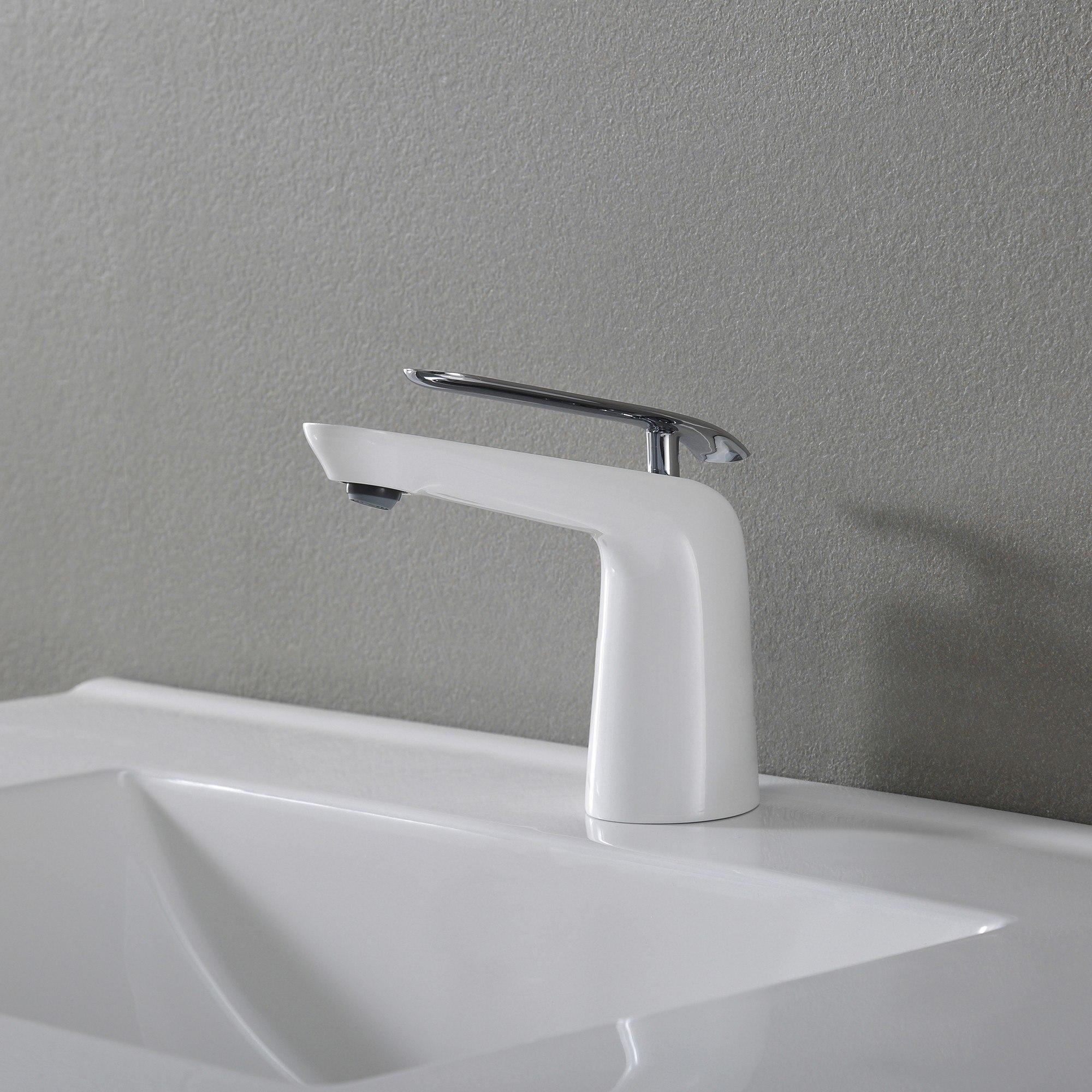 Seda Single Lever Basin Bathroom Faucet Chrome-White