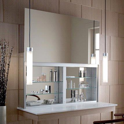 Robern UC4827FPL 48 Inch Uplift Cabinet Flat Plain Mirrored Cabinet Nightlight Handle & Mirror Defogger