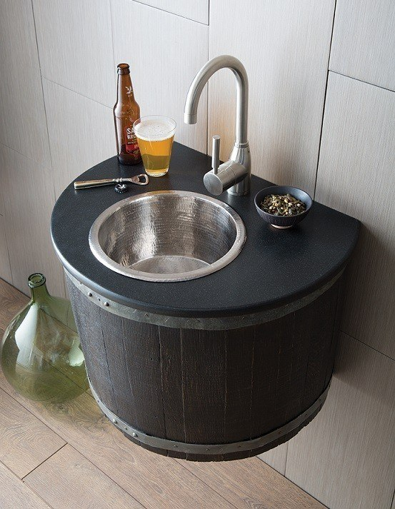 bordeaux french oak wine barrel bathroom vanity with hammere