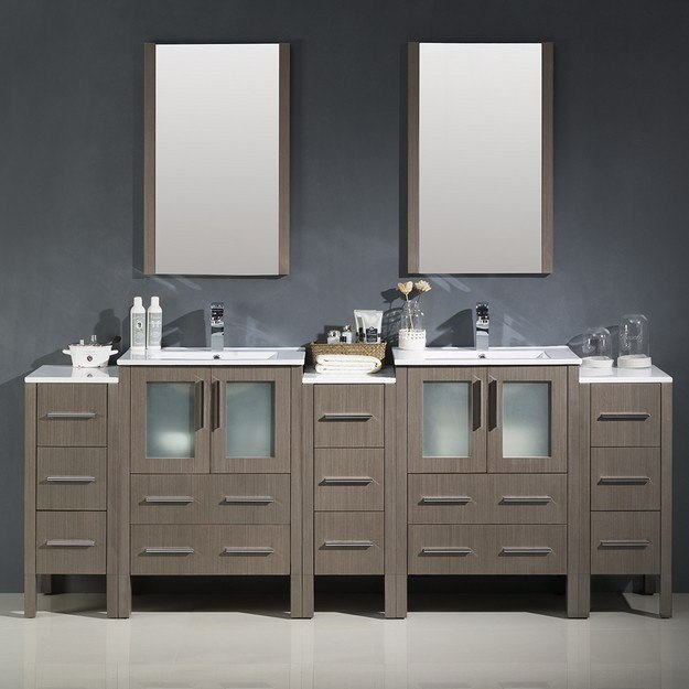Fresca fvn62 72go uns torino 84 inch gray oak modern double sink bathroom vanity w 3 side for 84 bathroom vanities and cabinets