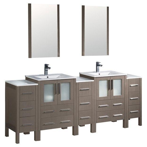 Fresca Fvn62 72go Uns Torino 84 Inch Gray Oak Modern Double Sink Bathroom Vanity W 3 Side